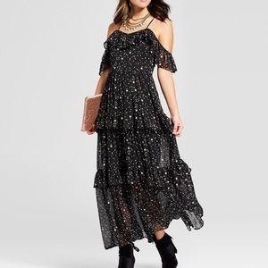 Target xhilaration star ruffle maxi dress Sz S